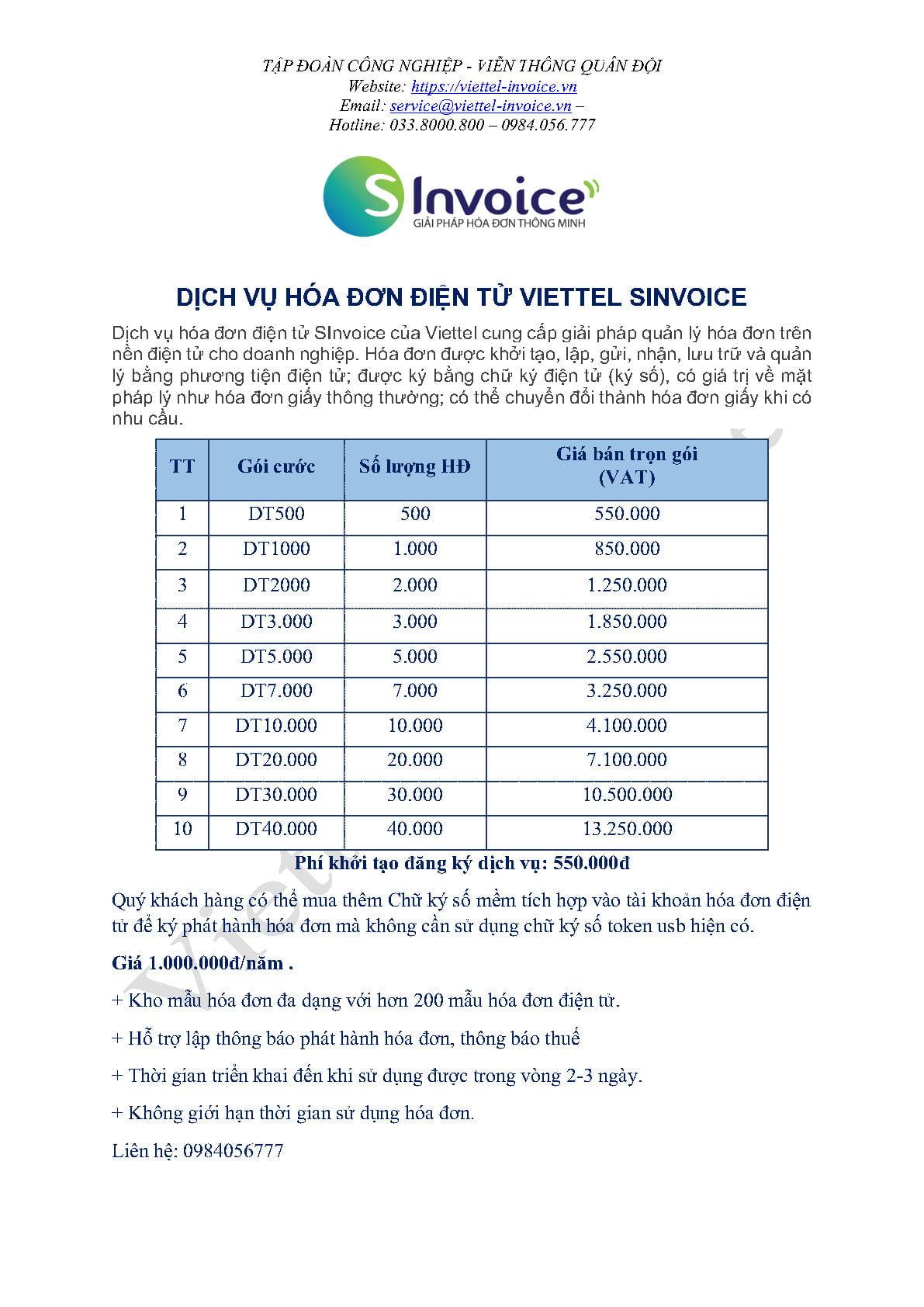 báo giá hóa đơn điện tử